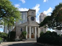 Honolulu Colours - Downtown Church (Pushapoze (NMP)) Tags: hawaii oahu honolulu downtown church eglise capitol museum musee buildings batiments bicyclettes palms