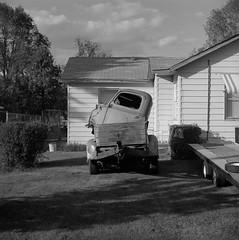 Klamath Falls, Oregon (austin granger) Tags: klamathfalls oregon truck pickup yard evidence film square yashicamat vintage