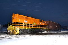 Chip Train at St Albans Yard (ERIE1960) Tags: railroad trains locomotive vermont newenglandcentral vermontrailroads emd gp402 nightphotography trainsinsnow stalbansvt