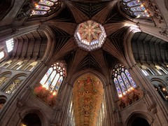 Great octagonal crossing, 14thC - Ely Cathedral, Ely, Cambridgeshire, England (edk7) Tags: olympusomdem5 olympus9mm18140°fisheyezonefocusbodycaplens edk7 2018 uk england cambridgeshire ely elycathedral cathedralchurchoftheholyandundividedtrinity 14thcoctagonalglazedtimberlantern octagonalcentralcrossing architecture building oldstructure church sculpture carving stonecarving stonework gradeilisted medieval tower window stainedglass arch nave transept ceiling painting