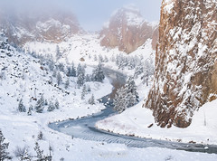 A Crooked River (kaylasulak) Tags: oregon snow pnw northwest river atmosphere fog canyon nature trees