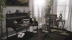 """You can always edit a bad page. You can't edit a blank page."" (desiredarkrose) Tags: kunst writer desk vintage virtualphotography virtualworld shinnyshabby arcadegacha applefall nutmeg decor decorationidea interior sldecor homedecor homeoffice dahlia"