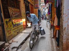 Milk transport (Dick Verton ( more than 13.000.000 visitors )) Tags: streetlife milkman fiets bicycle streetlive streetview streetshot varanasi india asia