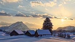 Winter evening (Tjaldur66) Tags: mountains swissmountains swissalps switzerland winter winterwonderland snow evening eveninglight sunset cottages outdoor hiking