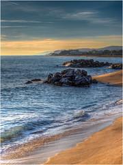 The coast at Santa Susanna (Luc V. de Zeeuw) Tags: bluesky clouds coast mediterranean rock rocks sea water waves santasusanna catalunya spain