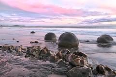 Moeraki at Sunrise (witajny) Tags: landscape landscapephotography lanscapes sky sea stones sand water sunrise nature naturepictures naturephotography clouds cloudysky cloudy color coast beach lake rock