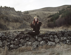 The Lost Kingdom (KaiaPieters) Tags: girl woman redhair red hair crown queen princess kingdom iceland fossarrett castle ruin wall waterfall fur wool sheepskin cape cloak collar