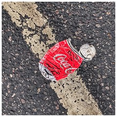 Day 012 Squashed can! (Clare Pickett) Tags: cocacola red white diagonal line road squashed can
