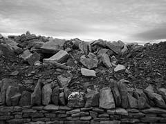 A Purbeck quarry (a.pierre4840) Tags: olympus omd em10 panasonic lumix 14mm f25 stone wall bw blackandwhite noiretblanc sky clouds monochrome micro43 fotor tiltshift purbeck dorset england