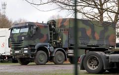 Armored Trakker (Schwanzus_Longus) Tags: delmenhorst german germany modern truck lorry flatbed crane military army bundeswehr coe cab over engine iveco trakker