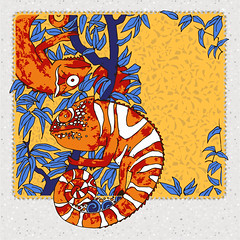 2  chameleons on abranch with blue laeves (heliga3333) Tags: africa animal asia background blue branch camouflage card cartoon chamaeleo chameleon character color contour creature creeper dragon drawn exotic hand illustration ink leaves lizard nature orange pattern pet red yellow