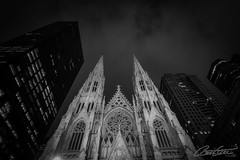 St-Patrick's Cathedral, NYC (corineouellet) Tags: canonphoto canon hdr pov dark nightshot night clouds city newyorkcity newyork nyc historic histoire design architecture travel cathedral cathédrale church monochromatic monochrome blackandwhite bnw noiretblanc