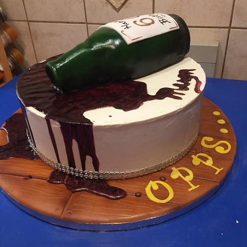 Amazing Opps Spilled Red Wine Bottle Cake Happy 60Th Birthday A Funny Birthday Cards Online Unhofree Goldxyz