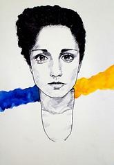 AutoRitratto (7Diana) Tags: self portrait eyes blue yellow watercolor blackandwhite ill illustration acquerello autoritratto drawing