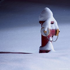 Snowy Hydrant, 2019 (strollingshuttereyes) Tags: night longexposure nighttime weather a6000 sony hues tones firehydrant minnesota snowfall winter snow