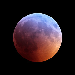 Lunar Eclipse Colours (agavephoto) Tags: moon ozone eclipse totality earthsatmosphere space astronomy astrophotography square night science colour primefocus fineart lunar umbra lunareclipse predictable shadow time old craters red purple blue orange cycles