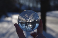Crystal Ball Test Shot (pmvarsa) Tags: winter 2019 january cold pentax kx pentaxkx crystal ball trees sun shadow light snow fingers refraction bright blue inverted focus bokeh suburbia street suburban sunset flare waterloo ontario canada cans2s texture