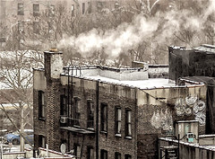 "Rooftop on LES During Wintertime (nrhodesphotos(the_eye_of_the_moment)) Tags: p21201283001084 ""theeyeofthemoment21gmailcom"" ""wwwflickrcomphotostheeyeofthemoment"" smoke trees tenement buildings chimney snow perspective graffiti les nyc wall brick ladder metal windows outdoors car street"