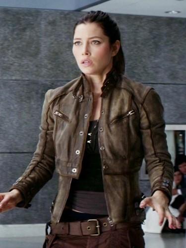 Jessica Biel Total Recall Melina Brown Leather Jacket