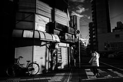 Street corner (y uzen (犬も歩けば…)) Tags: bw monochrome street shop woman smartphone conversation lightandshadow japaninbw