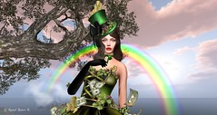 Virtual Trends: Lucky Charm (Anaelah ~ Miss Virtual Diva ♛ 2018) Tags: irrisistible shop st patrick saint clover shamrock leprechaun march swank event fantasy plant garden grass sl secondlife second life patch hud lucky gold money hat dress mesh maitreya belleza slink hourglass ebody tonic