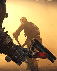 """""""Trouble"""" (L1netty) Tags: madmax avalanchestudios warnerbros pc game gaming pcgaming videogame reshade screenshot 6k srwe character man male people bandit weapon boomstick color yellow outdoor action"""