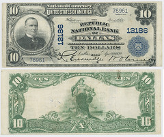 United States $10.00 (ten dollars) national currency (SMU Libraries Digital Collections) Tags: texas money national us united states currency paper banks notes note banknote banknotes chartered bank banking dallas dallascounty