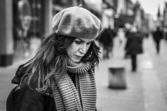 The Inner Self (Leanne Boulton) Tags: urban street candid portrait portraiture streetphotography candidstreetphotography candidportrait streetportrait streetlife woman female girl face eyes expression mood emotion feeling atmosphere introspective beret scarf cold winter weather isolation alone tone texture detail depthoffield bokeh naturallight outdoor light shade city scene human life living humanity society culture lifestyle people canon canon5dmkiii 70mm ef2470mmf28liiusm black white blackwhite bw mono blackandwhite monochrome glasgow scotland uk