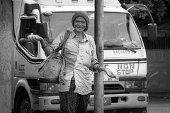 Happy (Beegee49) Tags: street woman happy smiling laughing blackandwhite bw monochrome panasonic fz1000 bacolod city philippines asia planet happyplanet asiafavorites