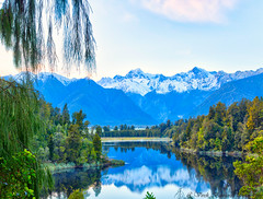 Lake Matheson Reflection (myshutterworld) Tags: otago canterbury newzealand west coast franz josef fox glacier south island landscape mountains peaks sunrise stick dead tree mirror lakes reflection blue serene picturesque gorgeous early morning hdr spectacular beautiful mind blowing amazing middle earth heavenonearth lake matheson mount tasman horokoau cook aoraki snowcapped te ara kairaumati walk reflecting reflectionisland zero wind ripples western southern alps lookout viewofviews jettylookout sky water nature cloud green white