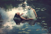 Reclined ({jessica drossin}) Tags: jessicadrossin wwwjessicadrossincom portrait woman lily pads water reflection reclined face dress white dancer pretty