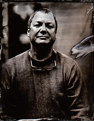 Terry outside (fitzhughfella) Tags: wetplate tintype tinplate collodion ether silvernitrate largeformat 4x5 darkroom graflexspeedgraphic kodakaeroektar