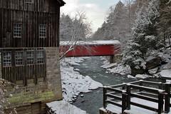 Winter Mill & Covered Bridge (mpalmer934) Tags: winter creek stream snow trees