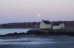 (amy20079) Tags: nikond5100 willardbeach moon sunset ocean sea fishhuts southportlandmaine southportland fullmoon supermoon wormmoon seaside shore newengland moonrise