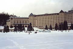 Fairmont Chateau Lake Louise 2 (pmvarsa) Tags: winter 2002 analog film 135 cans2s kodak royal gold 200iso kodakroyalgold200 royal2002 nikonsupercoolscan9000ed nikon coolscan cold snow ice frozen rocky moutains hotel mountain range national park trees cross country crosscountry xcountry ski sport activity outdoor exercise canon ftb canonftb classic camera banff lakelouise alberta canada ab