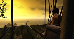 Abandoned (Rosie helendales) Tags: second life sunset landscape coastal abandoned stilt village