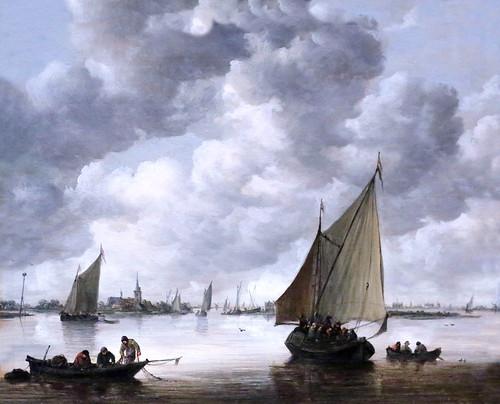 IMG_5622A Jan van Goyen. 1596-1656.  Leyde La Haye Bateaux de pêche dans un estuaire.  Fishing Boats in an Estuary. 1655.    Hambourg Kunsthalle.