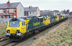 70002, 70016,70010, 66605 and 66529 (Paul268869) Tags: 70002 70016 70010 66605 66529 0y10 carlisle crewe clitheroe lancashire england unitedkingdom greatbritain theworld planetearth freightliner paulmanley britishfreighttrains generalmotors generalelectric fugly fred ribblevalley transport canon locomotive engine light green yellow orange art house building cab window sony picture camera digitalphotography color colour wheel moving europe outdoor outside day spring 2013 nikon emd ge
