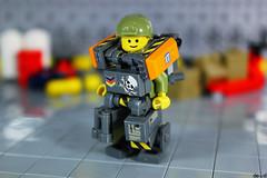 Military Trooper X59 (Devid VII) Tags: military crew devid vii mecha moc mech war troopers olive lego x59 orange diorama scene devidvii mobile suit
