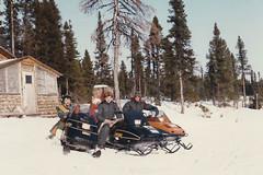Labrador - 1986-04-08 (MacClure) Tags: canada newfoundland labrador family snowmobile skidoo cabin