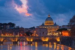 St Peters From the Tiber River (Alan Amati) Tags: amati alanamati architecture italy italia city vatican saint peters stpeters basilica church tiber river rome europe landscape urban clouds sunset bluehour travel roma reflections water