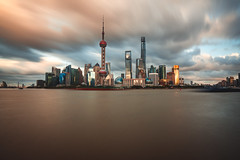 Just Around the River Bund (Todd Danger Farr) Tags: shanghai sony sonyimages cityscapes sunset longexposure thebund river skyline city photography movingclouds clouds china a7rii