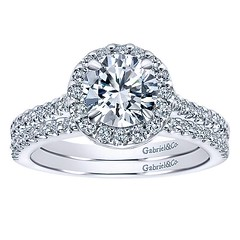 Classic Round Halo With Diamond Encrusted Band Shines Across 14k White Gold Engagement Ring Setting (diamondanddesign) Tags: classicroundhalowithdiamondencrustedbandshinesacross14kwhitegoldengagementringsetting er5832w44jj bridal rd engagement rings gbbr 7 044 ct gabriel ny diamond 14k white gold bottom