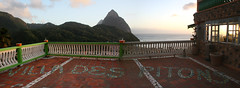 Villa des Pitons, Soufriere, St Lucia (stitch) (h_savill) Tags: 2019 february feb caribbean st lucia antilles windward isles holiday trip vacation exploreworldwide travel view landscape island soufriere piton green plant foliage stlucia town buildings bay sea water coast ocean hills