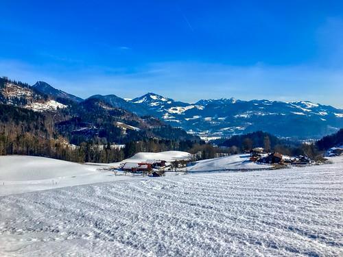 Winter mountain view from Hocheck near Oberaudorf, Bavaria, Germany