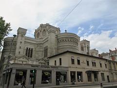 Église de l'Immaculée Conception above shops on Rue Servient, Lyon, France (Paul McClure DC) Tags: lyon france july2017 auvergnerhônealpes lapartdieu church historic architecture