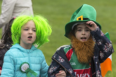 The top of the mornin' to ya! (Frank Fullard) Tags: frankfullard fullard candid street portrait children happy stpatrick green parade lol fun irish ireland fancydress beard hat wig leprecaun