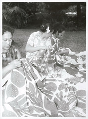 An elaborately embroidered bed cover made by Cook Island Women, Rarotonga 1969