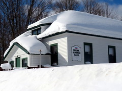 Traunik Slovenian Hall (yooperann) Tags: white building snow roof drifts banks slovenian hall ethnic upper peninsula michigan alger county