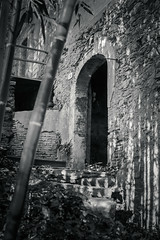 number 20 / in the woods (Laura Sergiampietri) Tags: bn hdr lucieombre bw biancoenero blackwhite door bricks wall decay decadence abandoned woods grass stairs arch contrast availablelight naturallight naturalillumination shadows lightsandshadows old ancient ivy smcpa3570f3545 smcpentaxa3570f3545